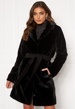 DRY LAKE Zig Zag Faux Fur Coat 030 Black Faux Fur Bubbleroom.se
