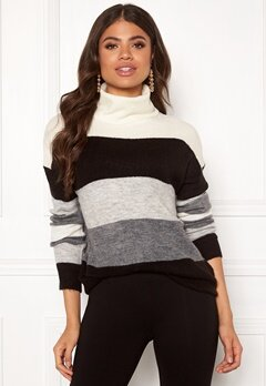 Jacqueline de Yong Elanora L/S Stripe Rollneck Knit Dark Grey Mel/Stripe Bubbleroom.se