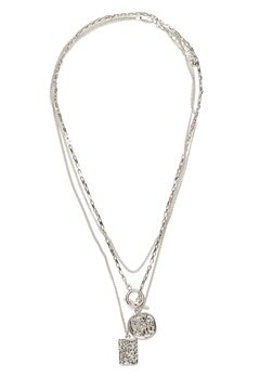 Pieces Elda Combi Necklace Silver Bubbleroom.se