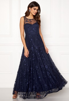 Goddiva Embroidered Maxi Dress Navy Bubbleroom.se