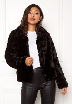 VILA Farry Faux Fur Jacket Black Bubbleroom.se