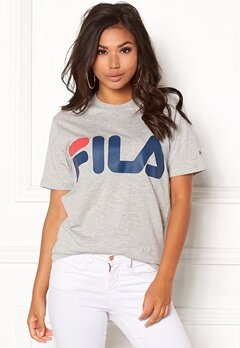 FILA Basic Classic Logo Tee Light Grey Melange Bubbleroom.fi