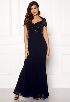 Goddiva Fishtail Maxi Dress Navy Bubbleroom.se