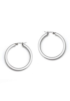 WOS Flat Silver Hoops Earring Silver Bubbleroom.se