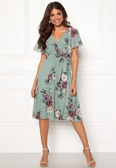 Goddiva Floral Flutter Midi Dress Duck Egg Bubbleroom.se