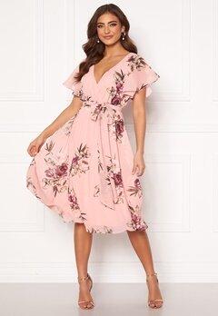 Goddiva Floral Flutter Midi Dress Peach Bubbleroom.se