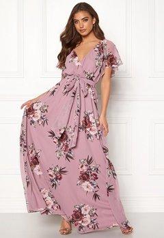 Goddiva Floral Sleeve Maxi Dress Lavender Bubbleroom.se