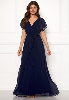Goddiva Flutter Chiffon Maxi Dress Navy bubbleroom.se