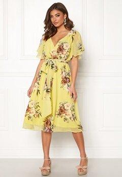 Goddiva Flutter Floral Midi Dress Soft Lemon Bubbleroom.se
