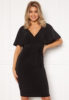 Goddiva Flutter Sleeve Fitted Midi Dress Black bubbleroom.se