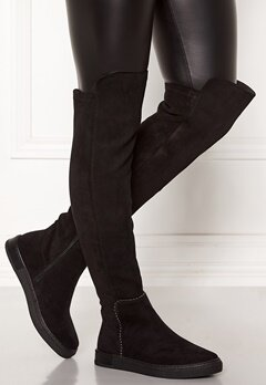 Francesco Milano Overknee Low Boots Nero Bubbleroom.se