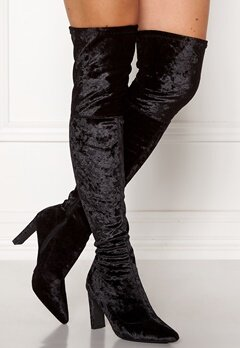 Francesco Milano Velvet Overknee Boots Nero Bubbleroom.se