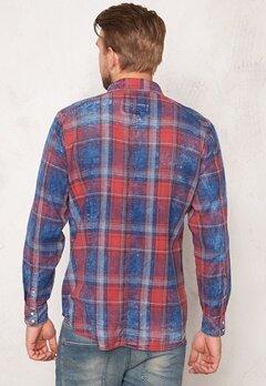G-STAR Landoh l/s Shirt Indigo/antic Red Bubbleroom.se