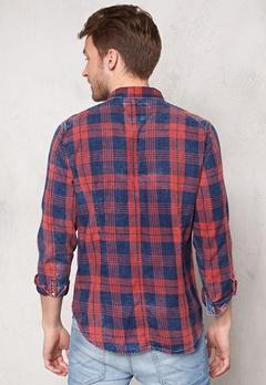 G-STAR Landoh Shirt l/s 6132 Indigo/redwood Bubbleroom.se