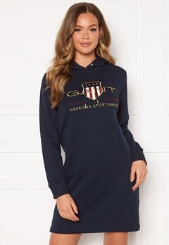 GANT Archive Shield Hoodie Dress 433 Evening Blue Bubbleroom.se