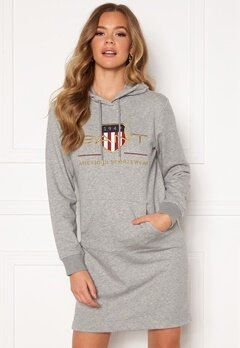 GANT Archive Shield Hoodie Dress 93 Grey Melange Bubbleroom.se