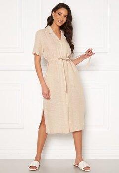 GANT Linen Chambray SS Shirt Dress Dry Sand Bubbleroom.se