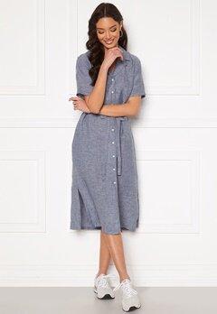 GANT Linen Chambray SS Shirt Dress Persian Blue Bubbleroom.se