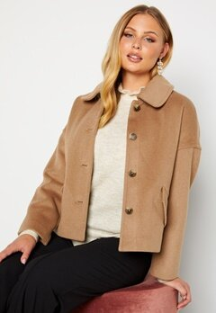 GANT Wool Blend Cropped Jacket 213 Warm Khaki Bubbleroom.se