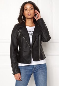 ONLY Gemma Faux Leather Biker Black Bubbleroom.se