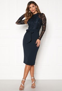 Girl In Mind Abbey Hi neck Midi Dress Navy Bubbleroom.se