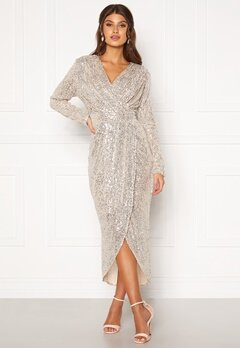 Girl In Mind Brooke Wrap Sequin Dress Silver Bubbleroom.se