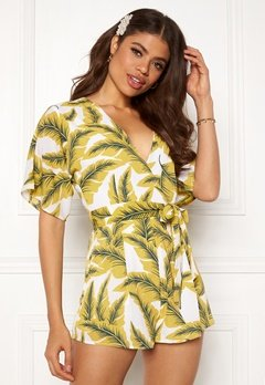 Girl In Mind Cecilla V Neck Playsuit Yellow Palm Bubbleroom.se