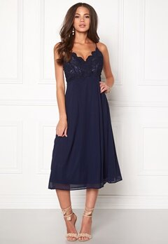 Girl In Mind Elea Plunge Lace Dress Navy Bubbleroom.no