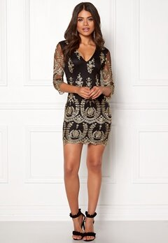 Girl In Mind Embroidered Mini Dress Black Bubbleroom.fi