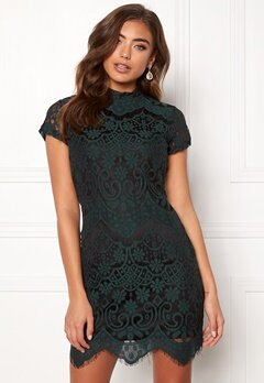 Girl In Mind Emilia Lace Mini Dress Bottle Green Bubbleroom.se