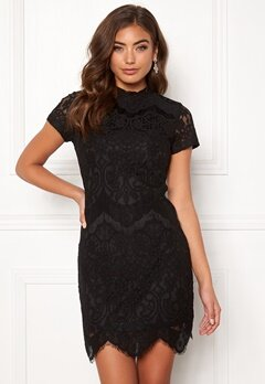 Girl In Mind Emilia Lace Mini Dress Black Bubbleroom.se