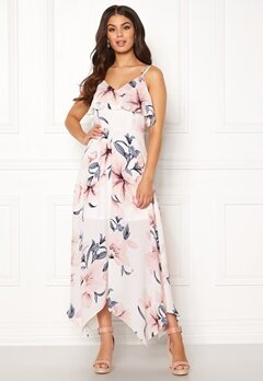 Girl In Mind Evie Floral Midi Dress White Bubbleroom.se