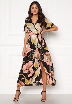 Girl In Mind Farren Split Maxi Dress Peach Bubbleroom.se
