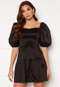 Girl In Mind Freya Puff Sleeves Square Neck Mini Dress Black Bubbleroom.se