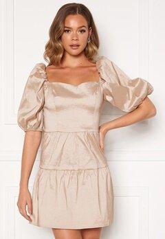 Girl In Mind Freya Puff Sleeves Square Neck Mini Dress Nude bubbleroom.se