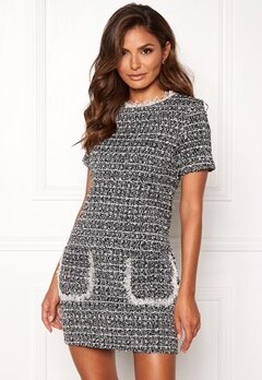 Girl In Mind Hallie Tweed Shift Dress Blk Bubbleroom.se