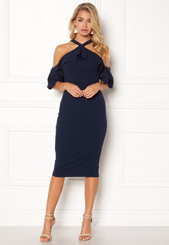 Girl In Mind Halterneck Frill Dress Navy Bubbleroom.se