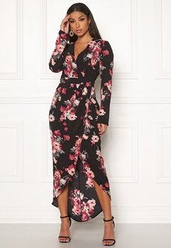 Girl In Mind Indie Wrap Floral Dress Black Bubbleroom.se