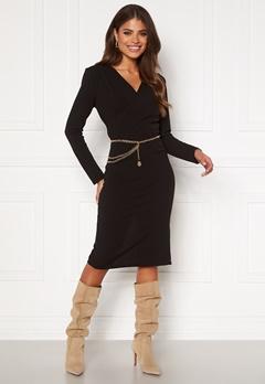 Girl In Mind Josephine Long Sleeve Belted Midi Dress Black Bubbleroom.se