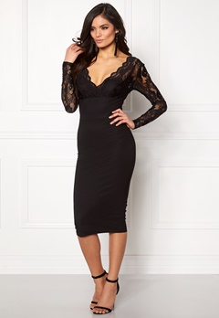 Girl In Mind Lace Bodycon Dress Black Bubbleroom.no