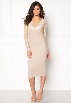 Girl In Mind Lace Bodycon Dress Champagne Bubbleroom.no