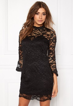 Girl In Mind Long Sleeve Lace Dress Black Bubbleroom.fi