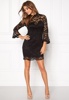 Girl In Mind Long Sleeve Lace Dress Black Bubbleroom.se