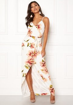 Girl In Mind Mia Floral Wrap Maxi Dress White Bubbleroom.se