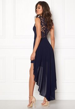 Girl In Mind Midi Lace Dress Navy Bubbleroom.se