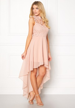 Girl In Mind Midi Lace Dress Pink Bubbleroom.se