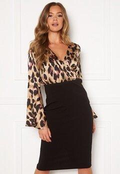 Girl In Mind Mya Wrap Front Midi Dress Leopard Print Bubbleroom.se