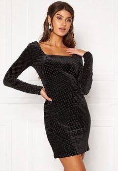 Girl In Mind Naomi Silver Dot Dress Black Bubbleroom.se