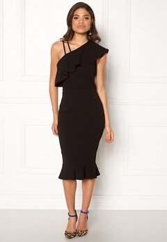 Girl In Mind One Shoulder Frill Dress Black Bubbleroom.no