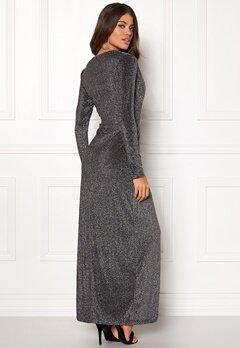 Girl In Mind Plunge V Neck Wrap Dress Black/silver Bubbleroom.fi